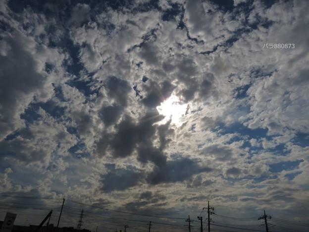 広がる雲の後ろの太陽